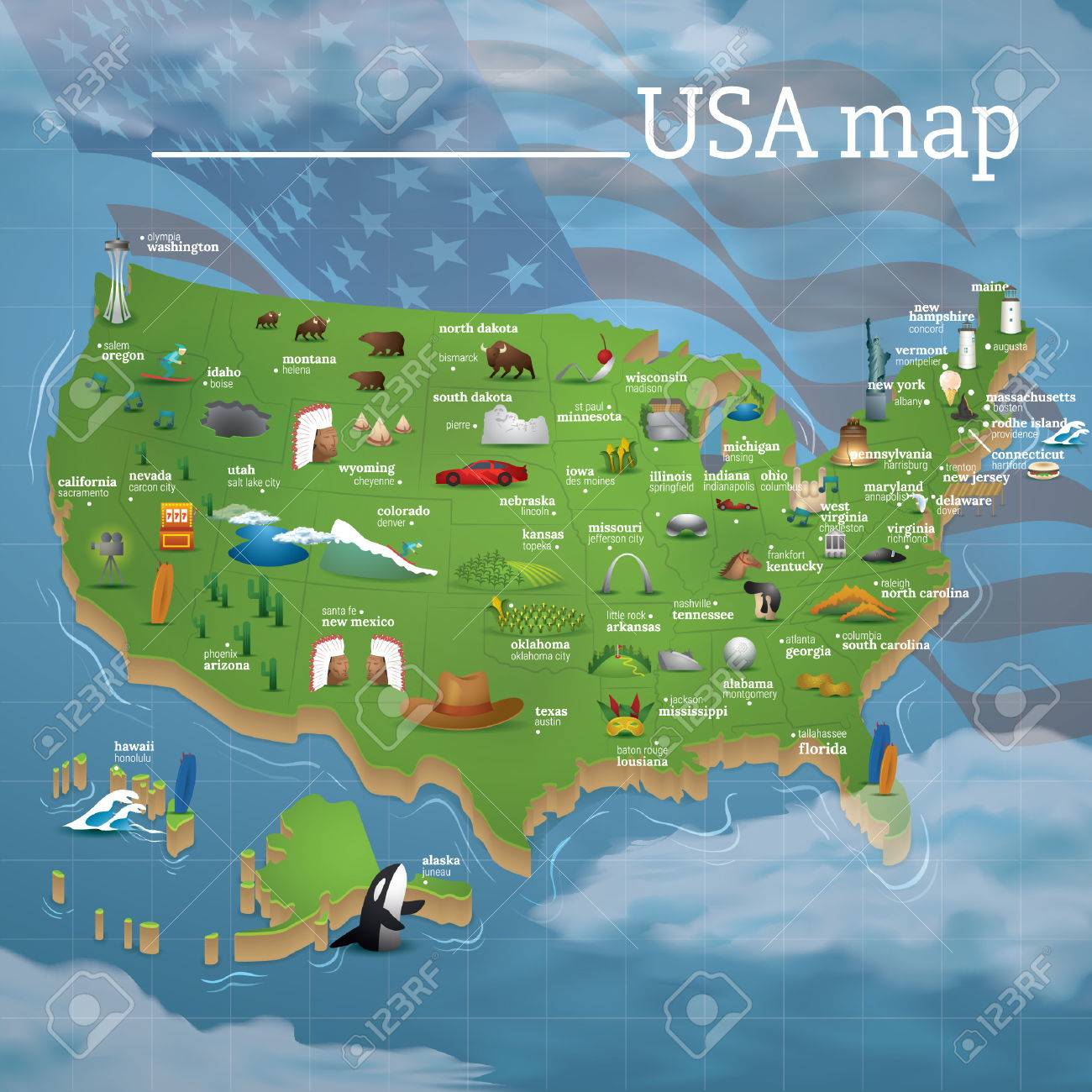 USA Map Famous Symbols Royalty Free Cliparts Vectors And Stock - Little rock usa map