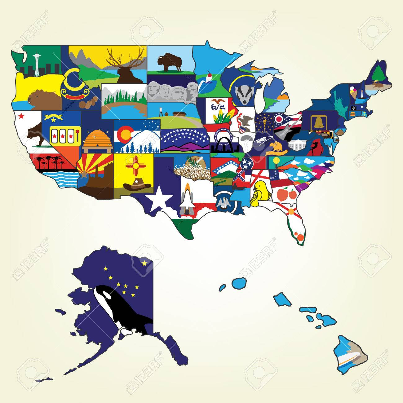 USA Map With Famous Landmark Royalty Free Cliparts Vectors And - Us map with famous landmarks