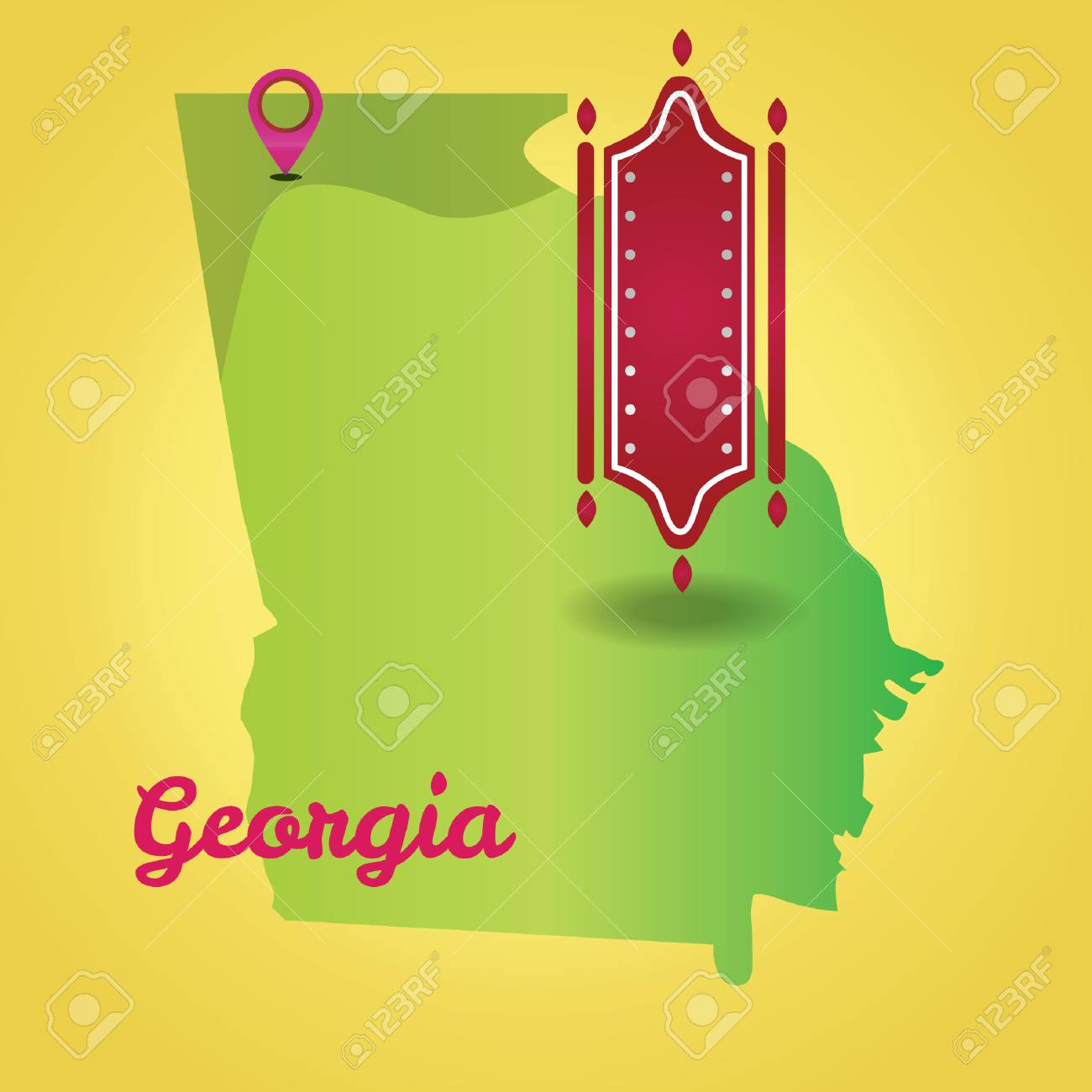 Map Of Georgia State Royalty Free Cliparts, Vectors, And Stock ...