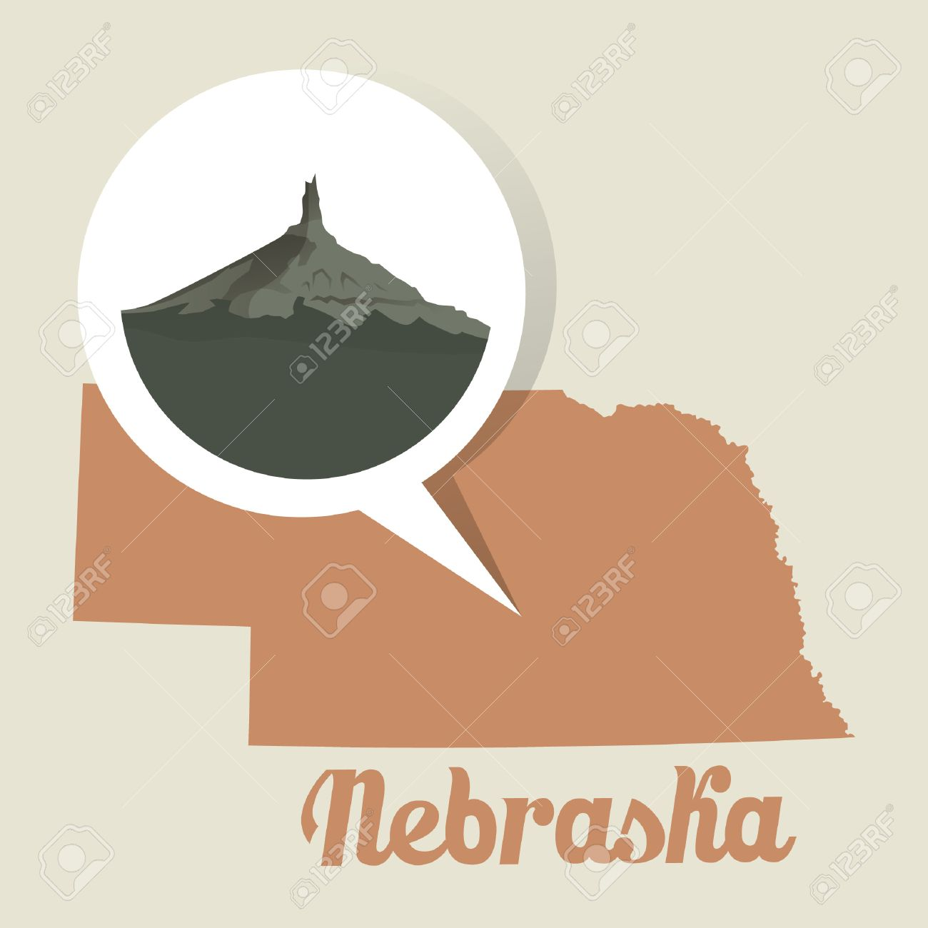 Nebraska Map With Chimney Rock Icon Royalty Free Cliparts Vectors