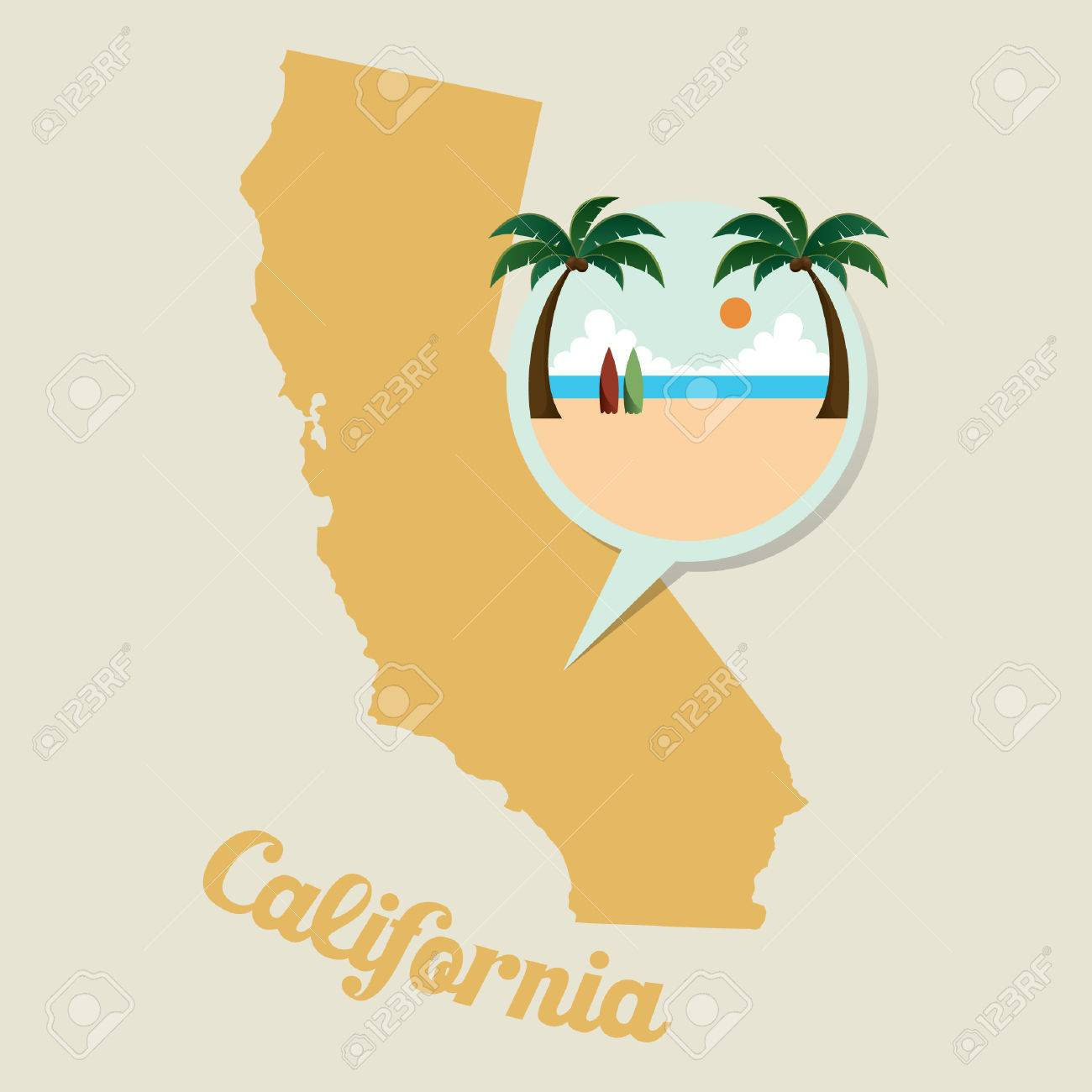 California Map Cartoon.California Map With Beach Icon Royalty Free Cliparts Vectors And