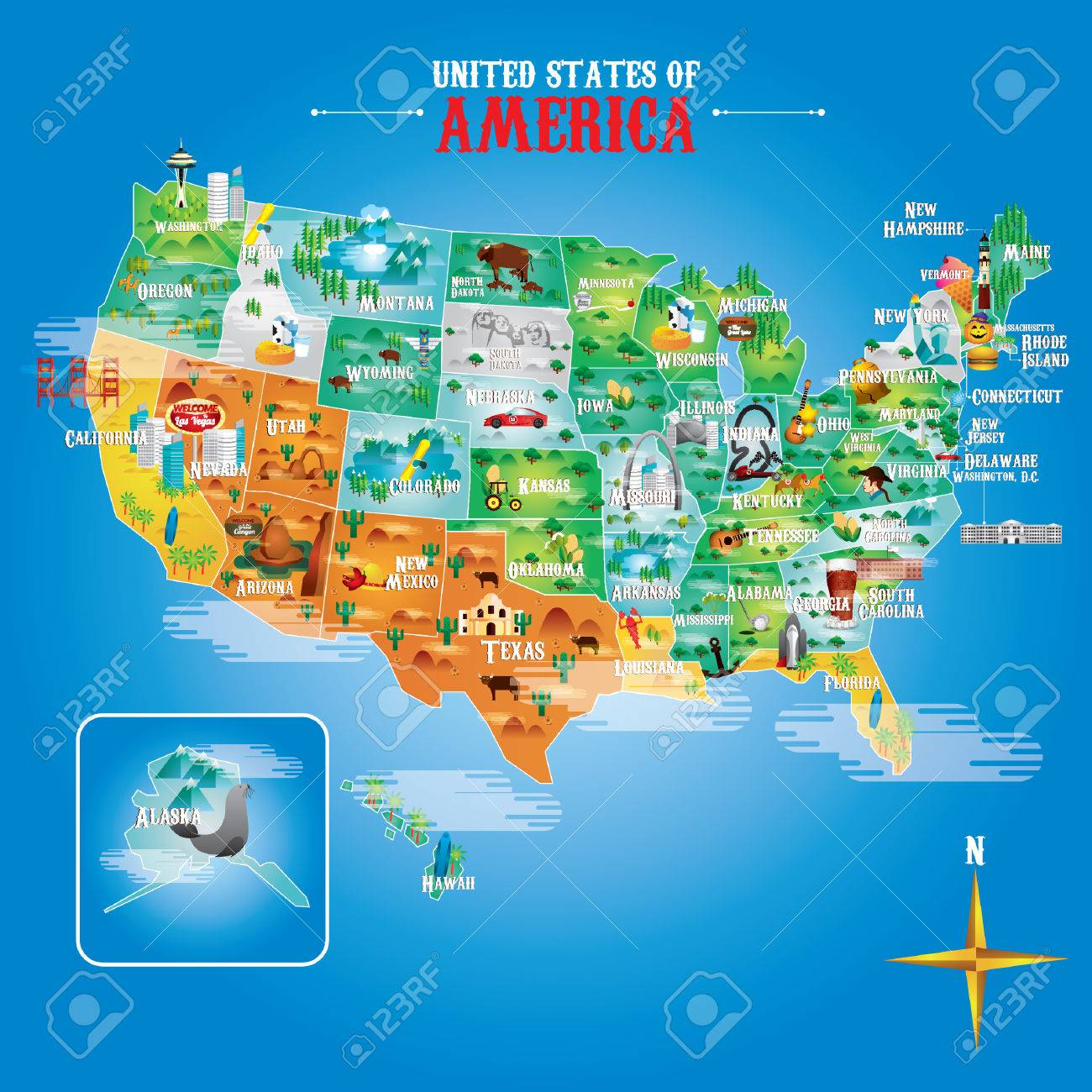 Fifty States Of America With Famous Landmarks Royalty Free Cliparts