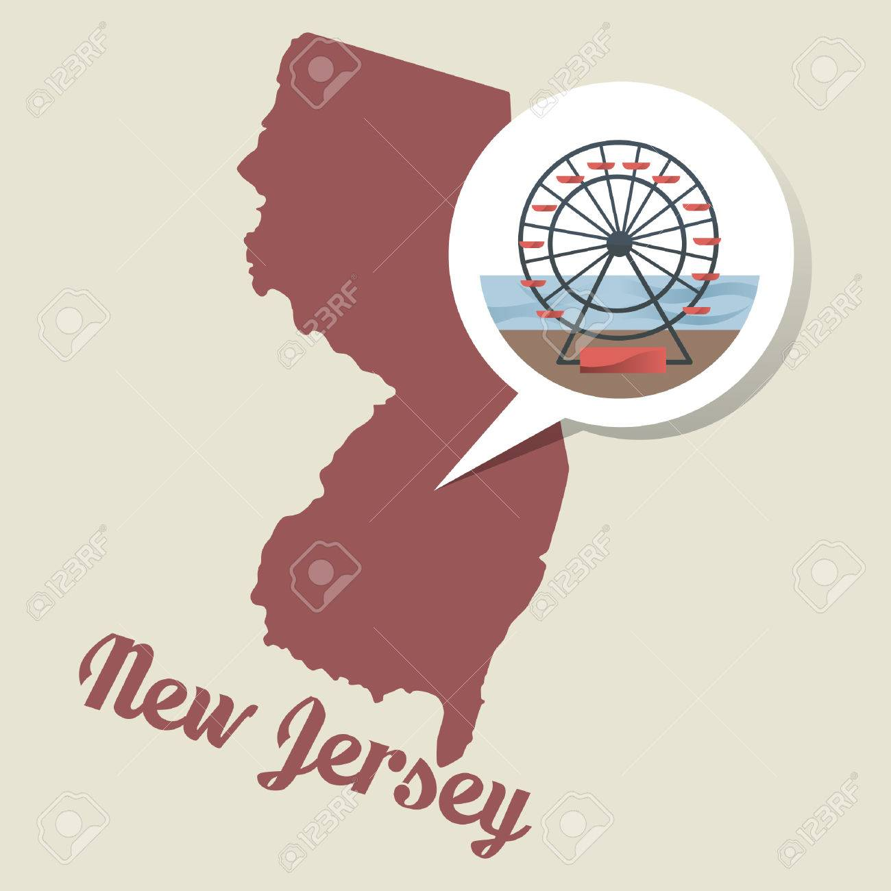 New Jersey Map With Atlantic City Boardawalk Icon Royalty Free - Newjerseymap