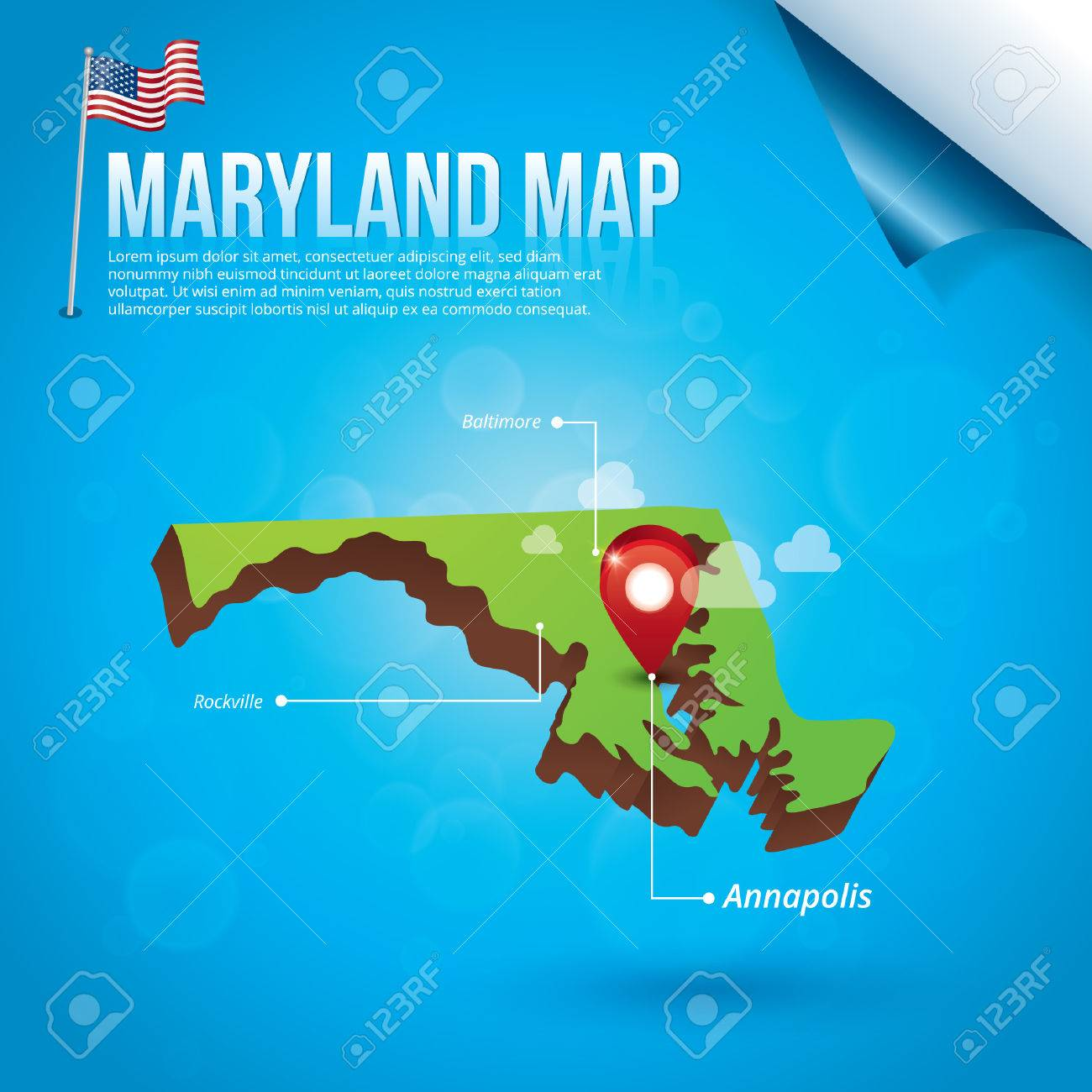 Map Of Maryland State Royalty Free Cliparts Vectors And Stock