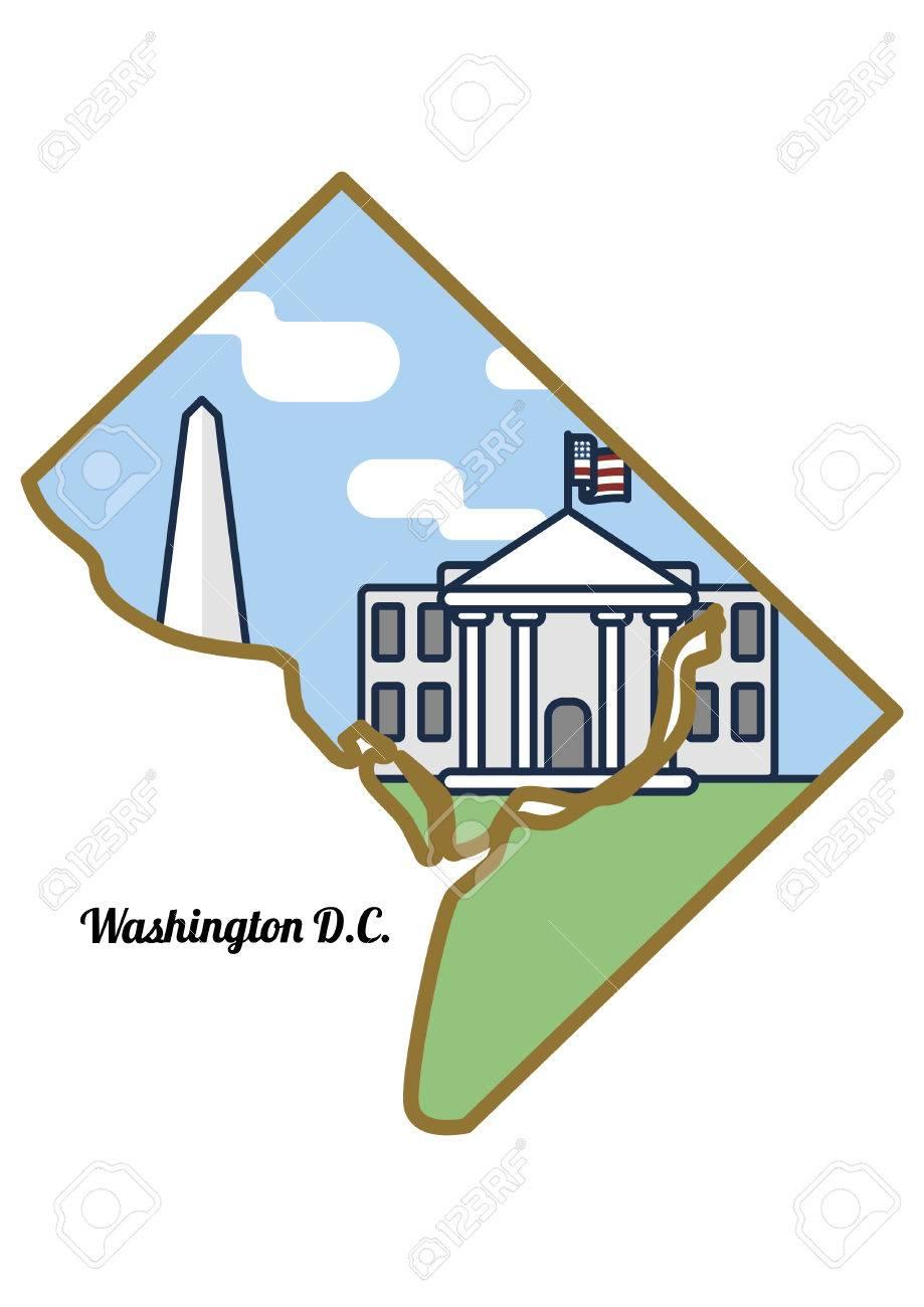 Washington dc state map on