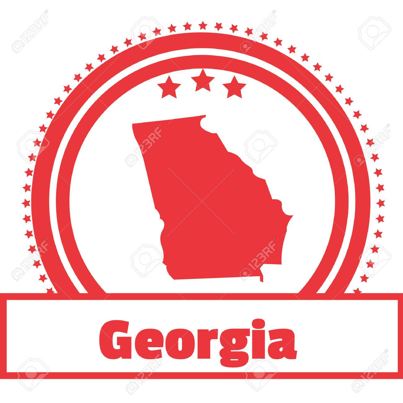 Georgia State Map Label Royalty Free Cliparts Vectors And Stock - Georgia map label