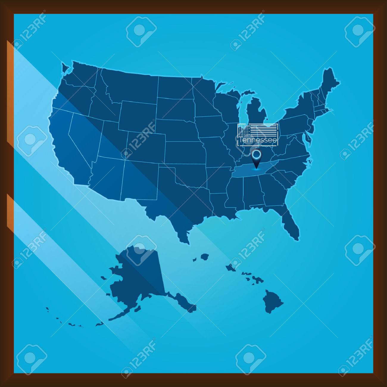 Navigation Pointer Indicating Tennessee State On Us Map Royalty Free