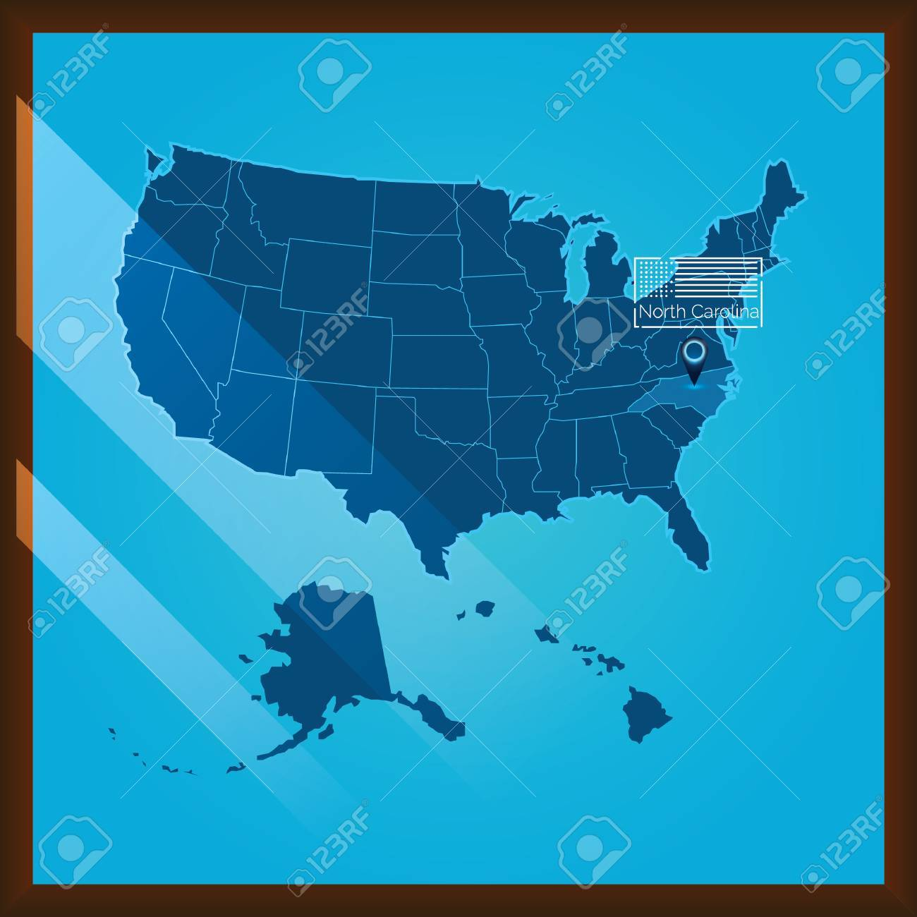 Map Of The United States North Carolina Highlighted Vector US - Us map nc