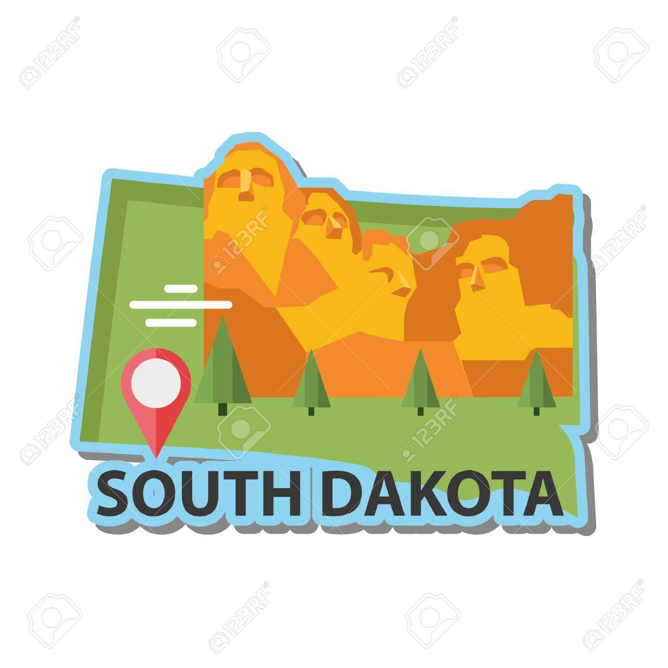 Map Of South Dakota State Royalty Free Cliparts Vectors And Stock