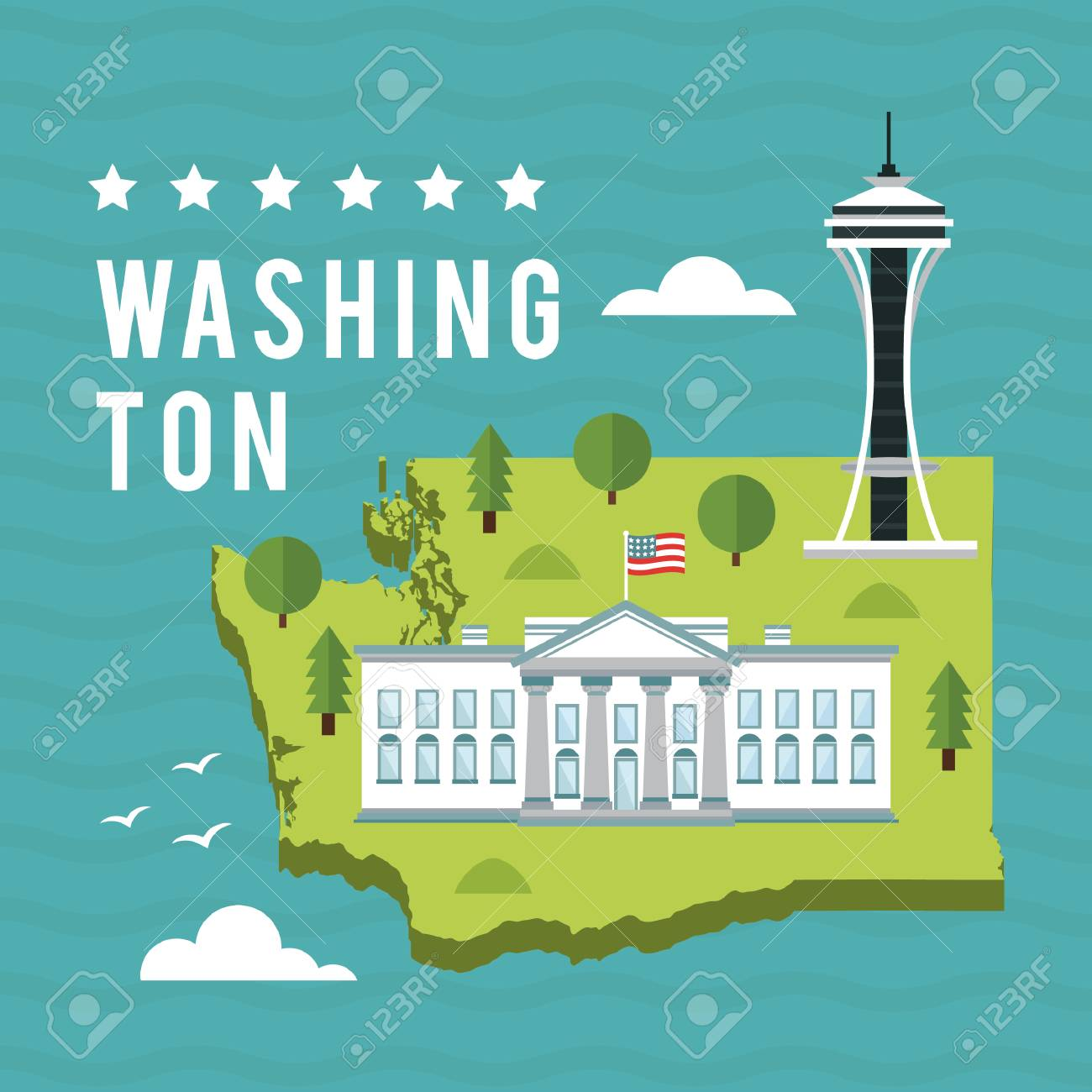 Map Of Washington State Royalty Free Cliparts, Vectors, And Stock ...
