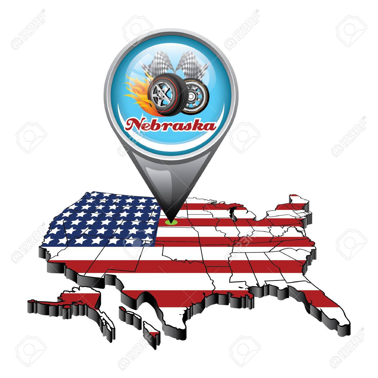 US Map With Pin Showing Nebraska State Royalty Free Cliparts - Nebraska on us map