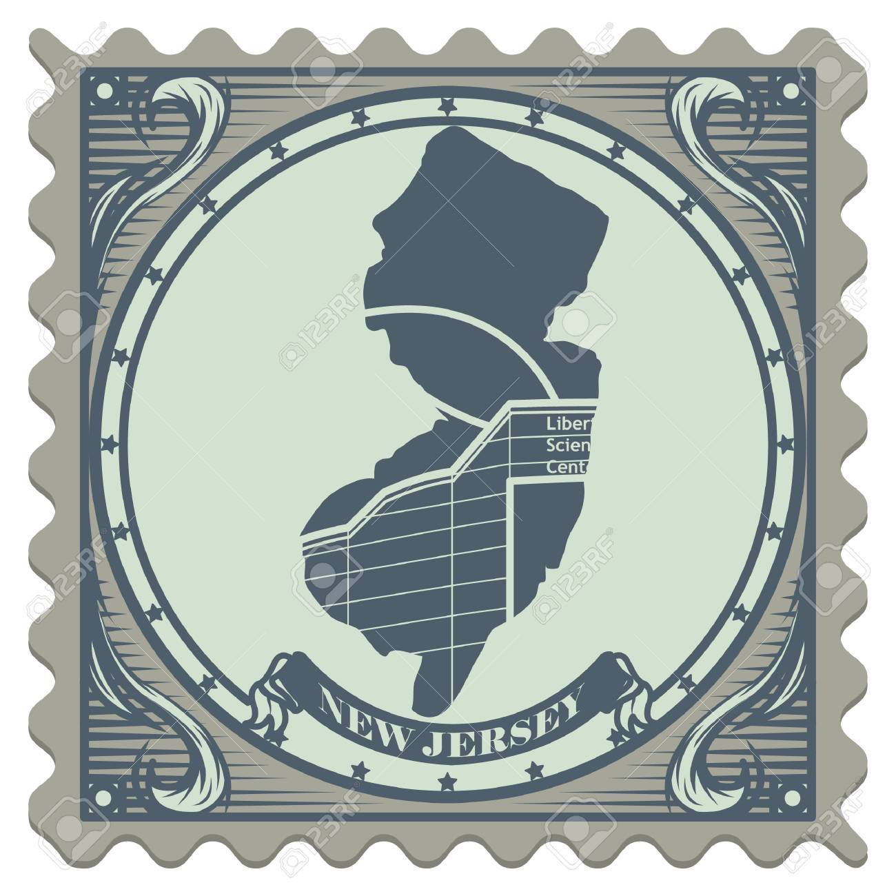 New Jersey State Postage Stamp Stock Vector