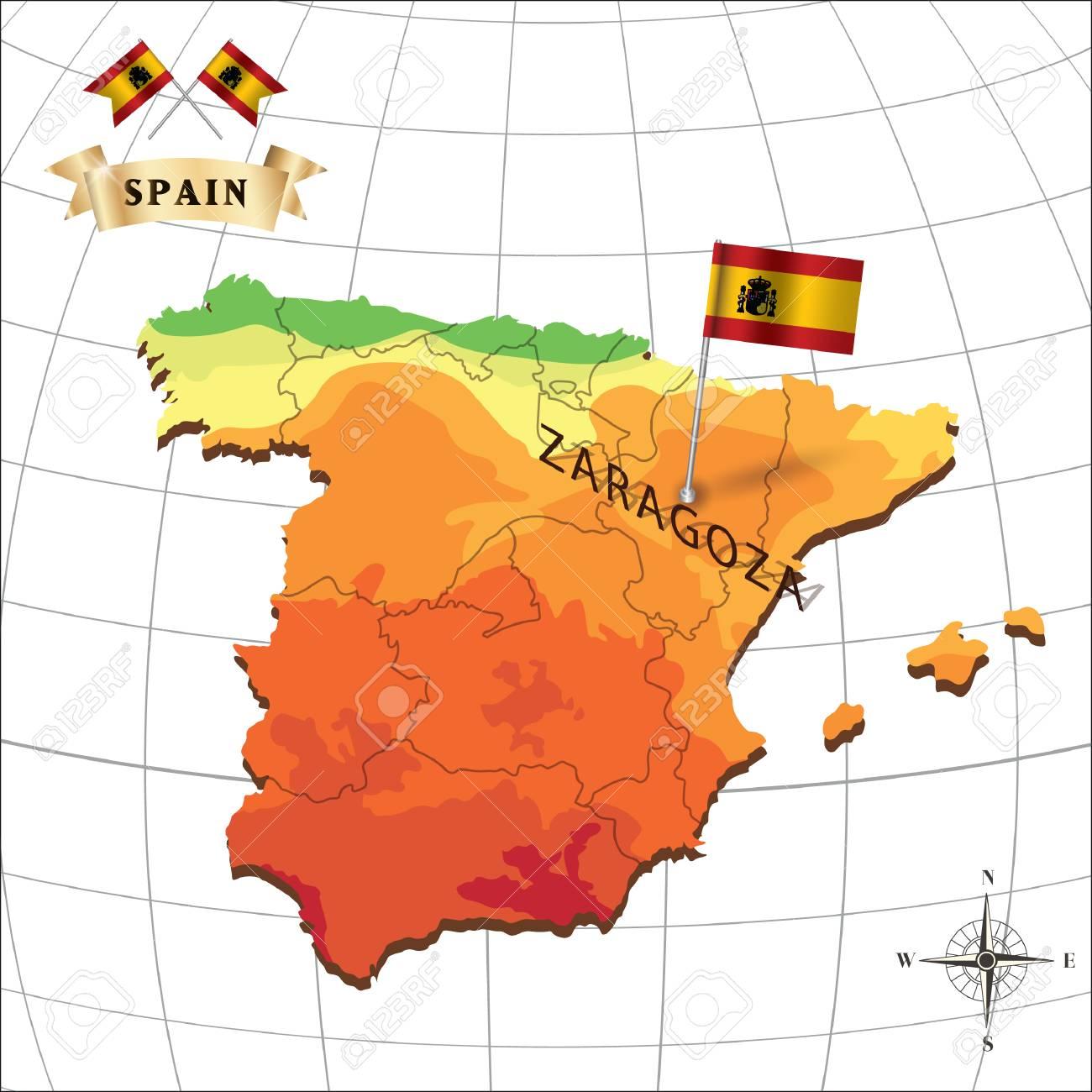 Mapa De Espana Con El Zaragoza Ilustraciones Vectoriales Clip Art
