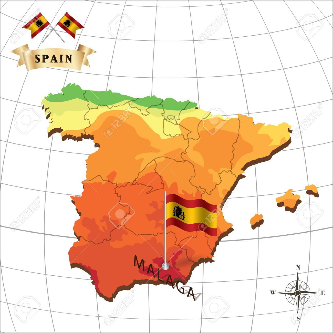 Map Of Spain Malaga.Map Of Spain With Malaga