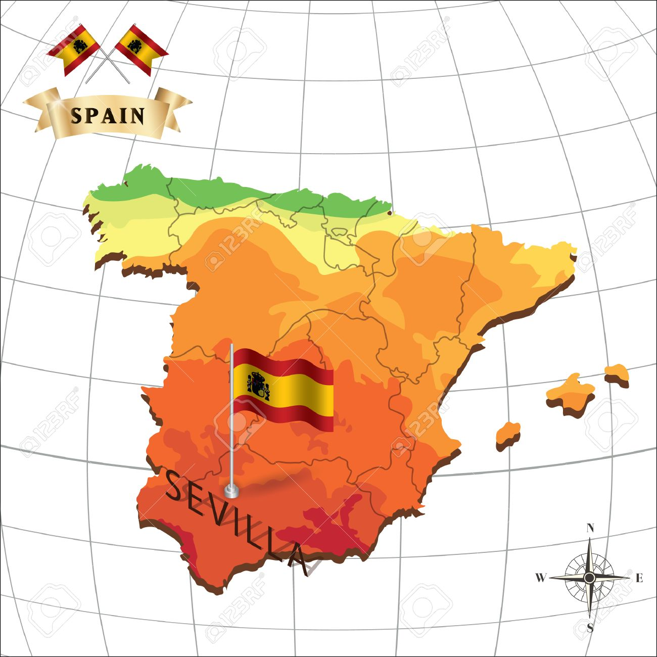 Map Of Spain With Sevilla Royalty Free Cliparts, Vectors, And Stock ...