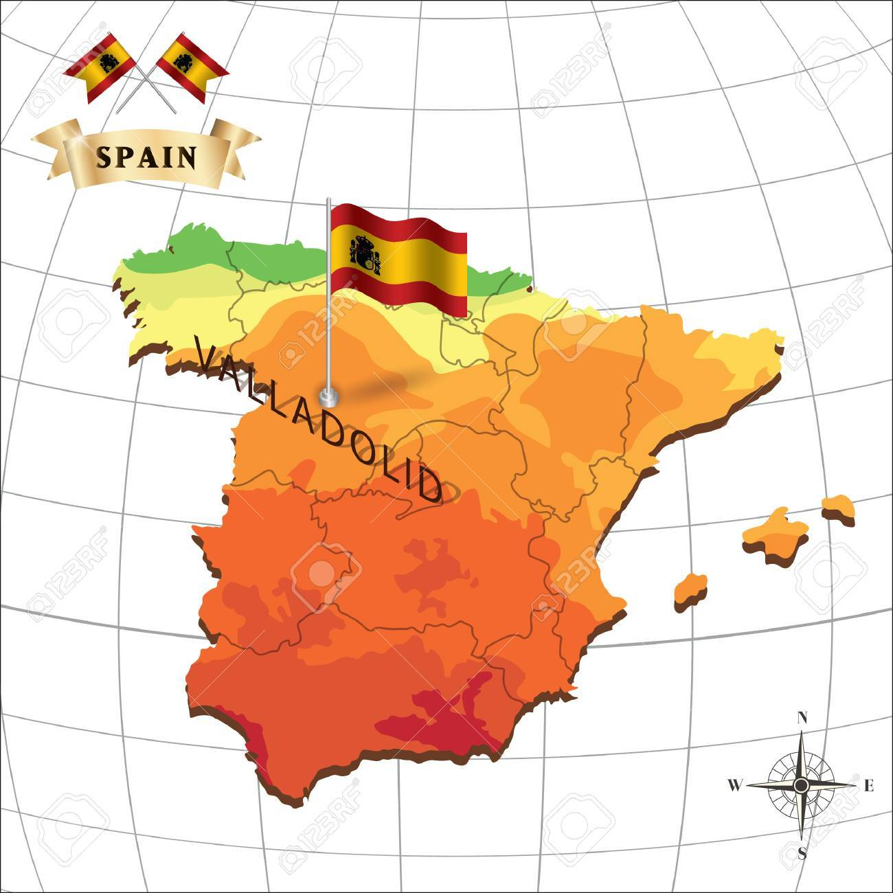 Map Of Spain With Valladolid Royalty Free Cliparts Vectors And