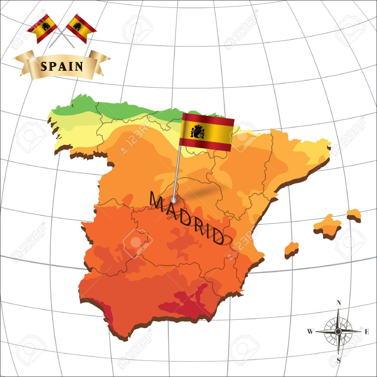 Map Of Spain With Madrid.Map Of Spain With Madrid