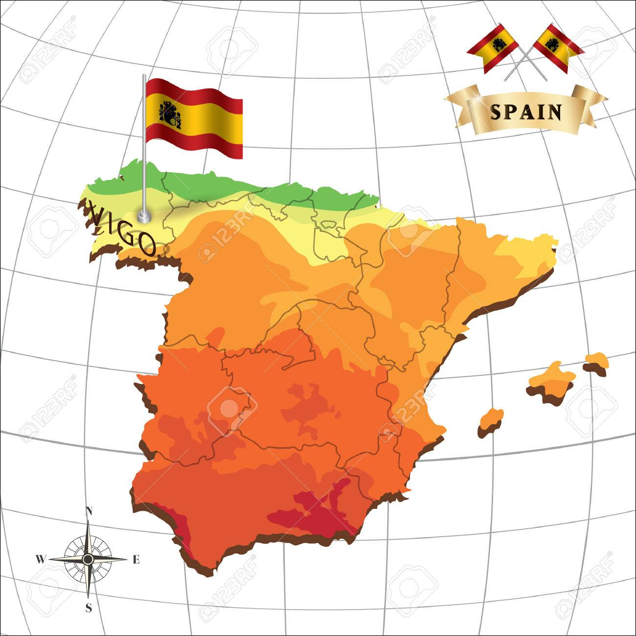 Map Of Spain With Vigo Royalty Free Cliparts Vectors And Stock