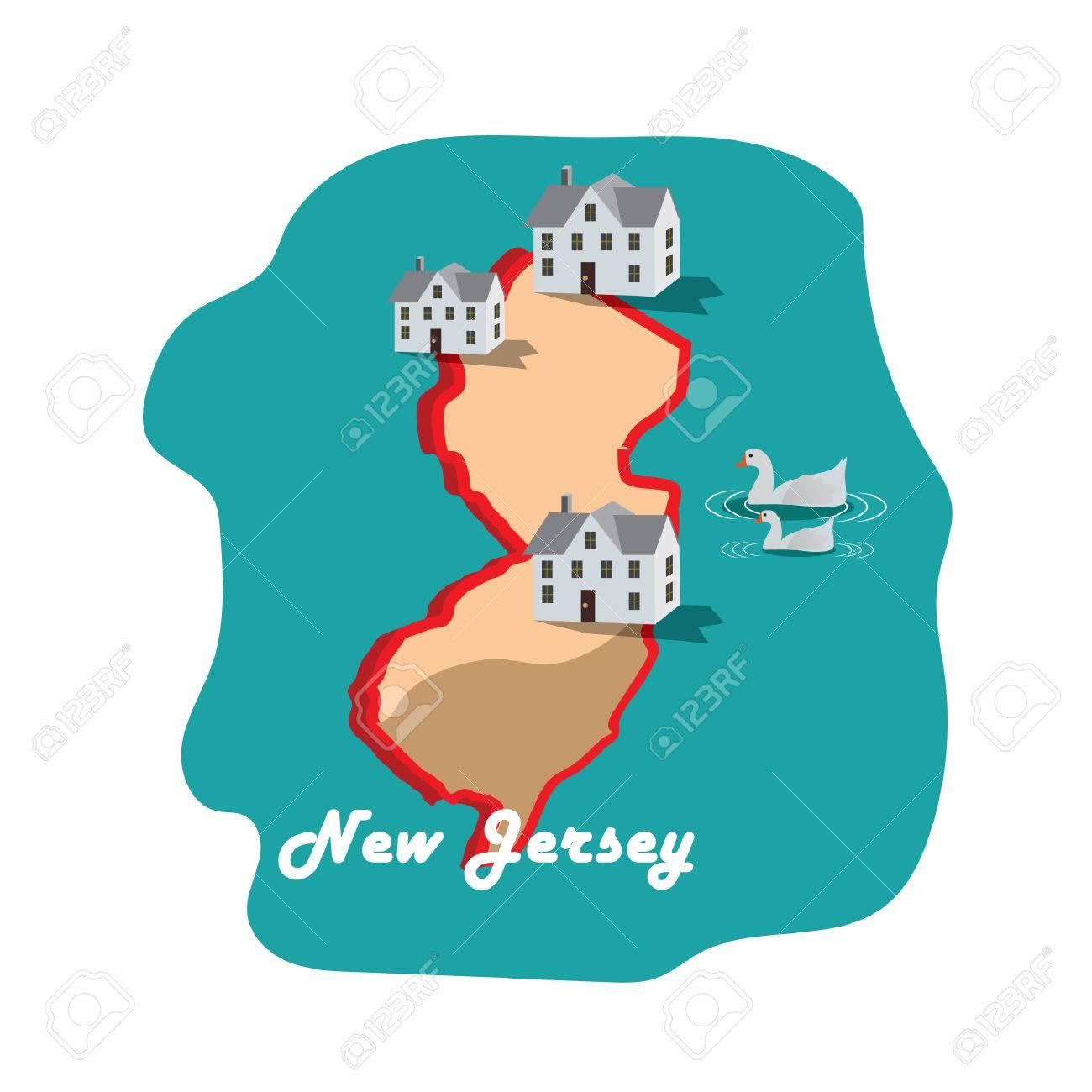 Nuevo Mapa De Estado De New Jersey Con El Paseo Marítimo De - Mapa de new jersey