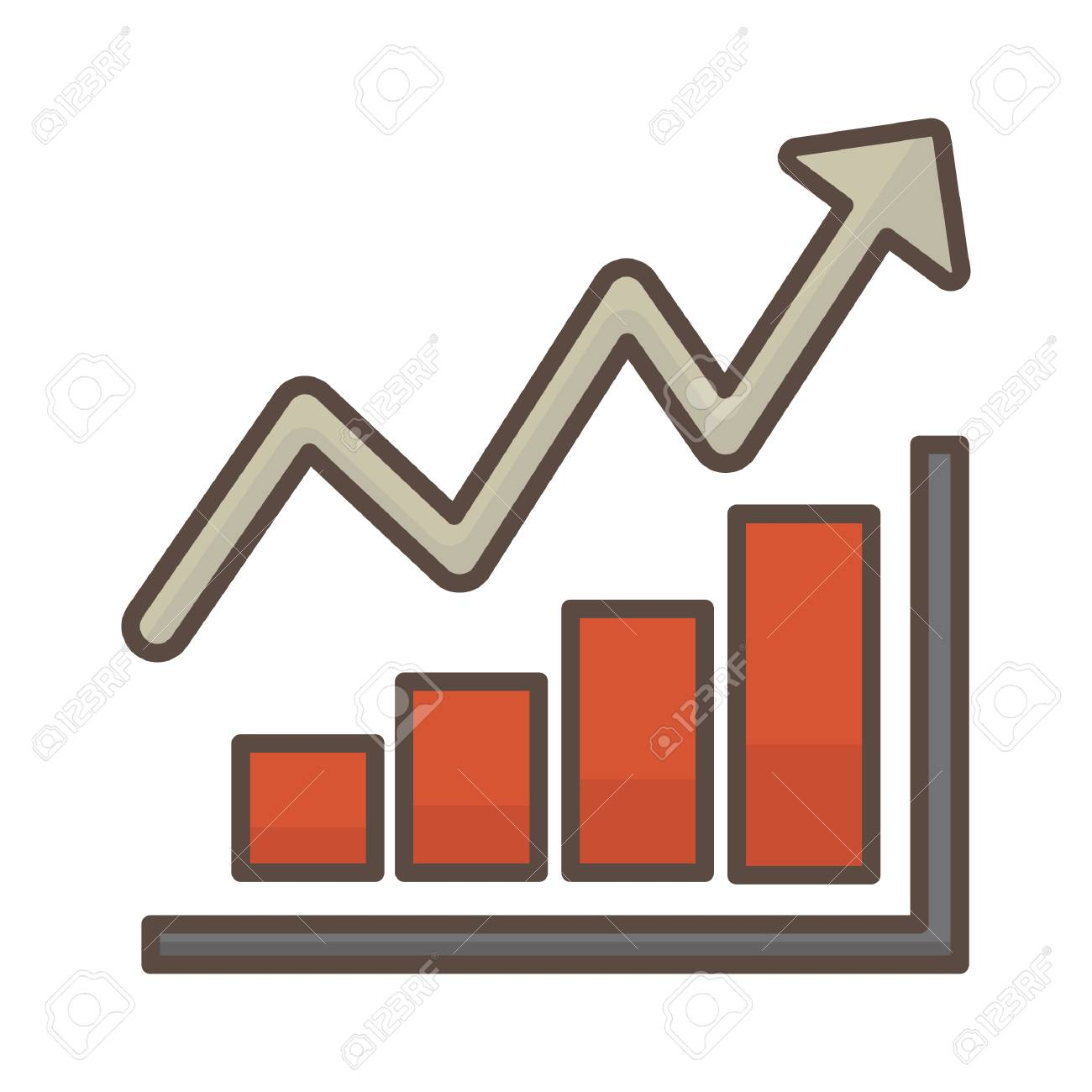 bar graph with arrow going up royalty free cliparts, vectors, and