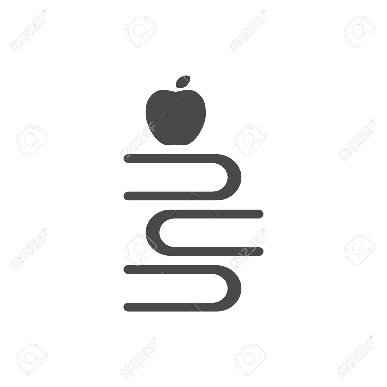 apple with stack of books - 106668185