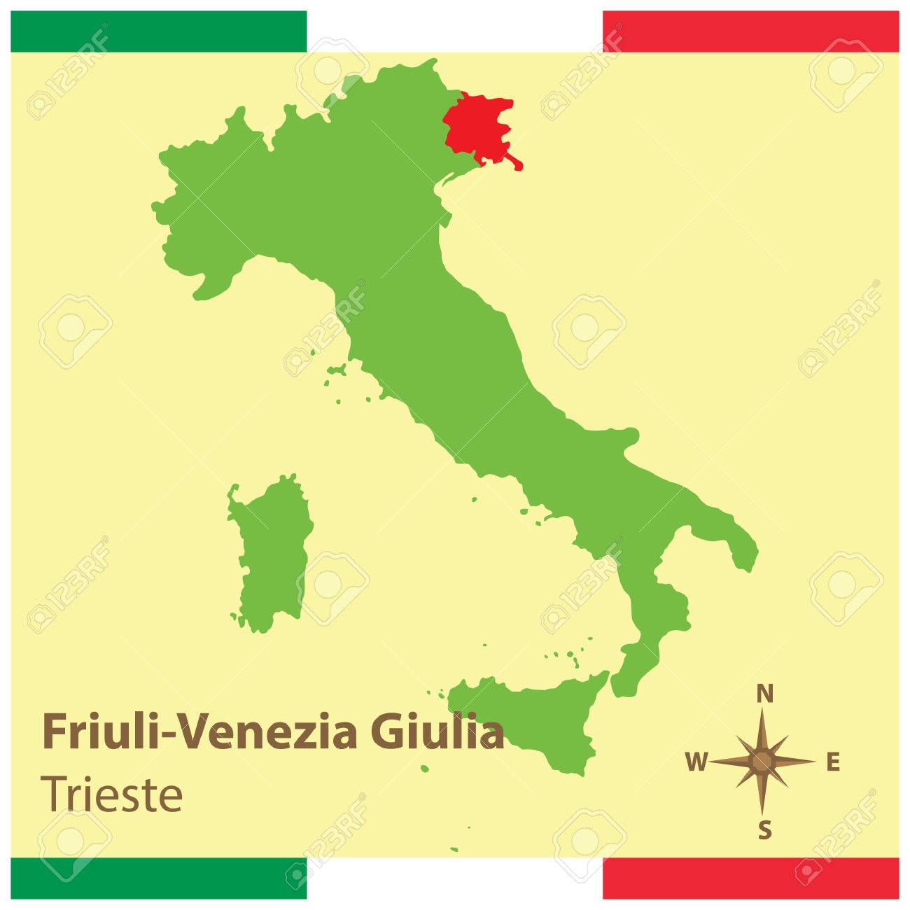 Friuli Italy Map.Friuli Venezia Giulia On Italy Map Royalty Free Cliparts Vectors