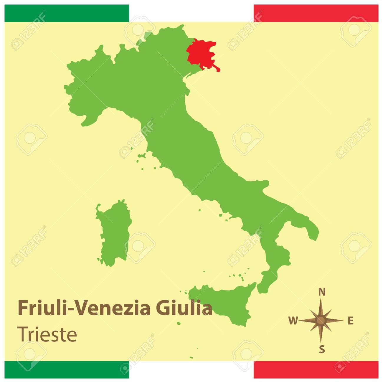 Friuli Venezia Giulia On Italy Map Royalty Free Cliparts Vectors