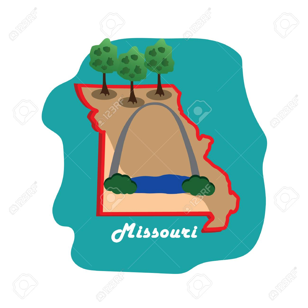 St Louis State Map.Missouri State Map With St Louis Gateway Arch Royalty Free Cliparts