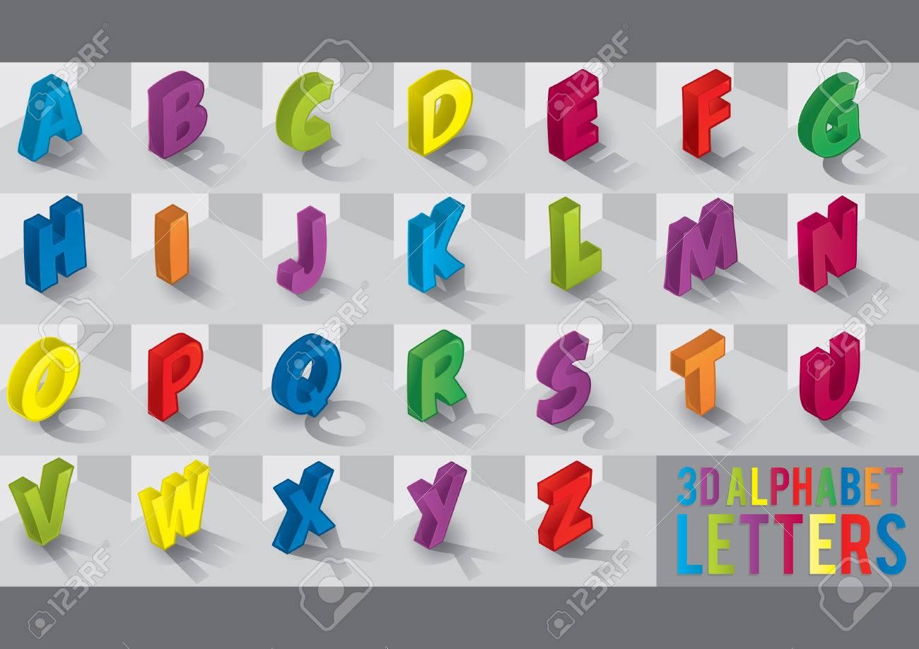 3d alphabet letters Stock Vector - 51457156