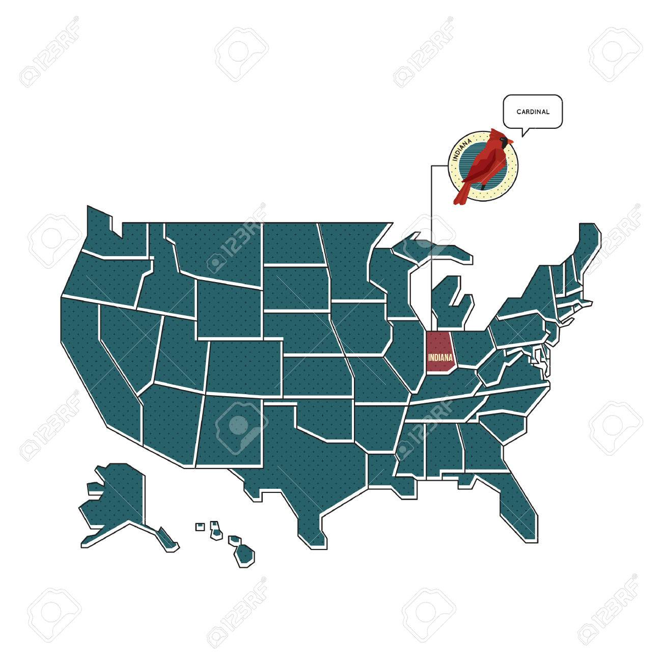 Us Map With Indiana State Bird Royalty Free Cliparts Vectors And - Indiana-map-us
