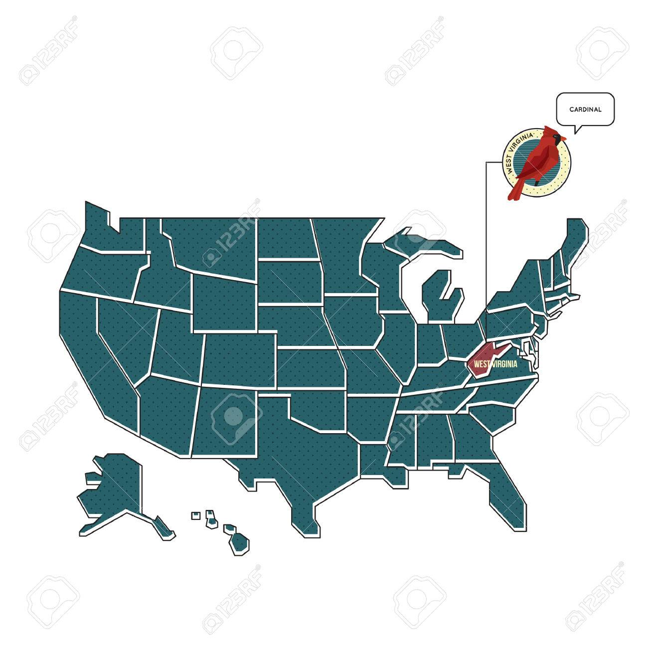 Us Map With West Virginia State Bird Royalty Free Cliparts - West virginia us map