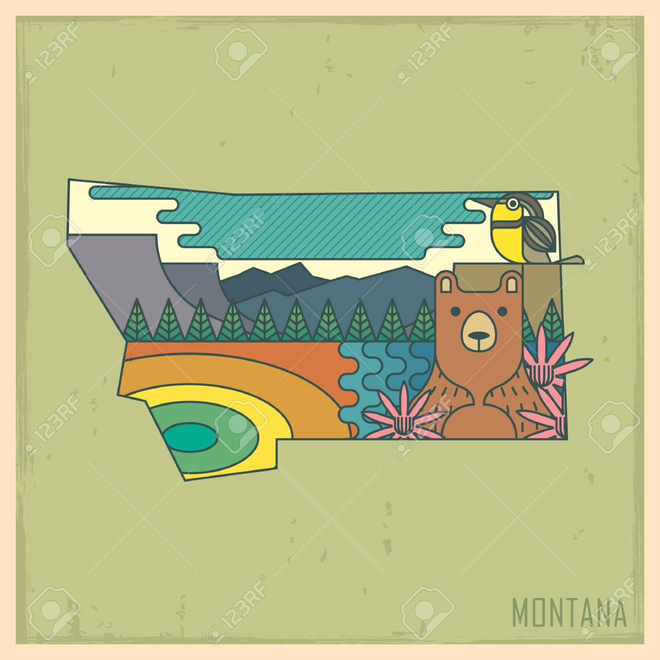 Montana State Map Royalty Free Cliparts Vectors And Stock