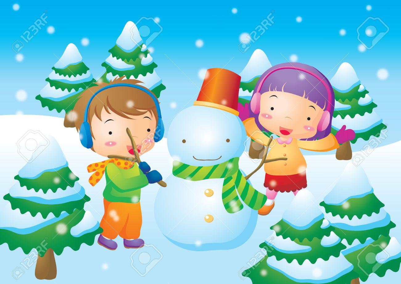 Ninos Jugando Con El Muneco De Nieve Ilustraciones Vectoriales Clip