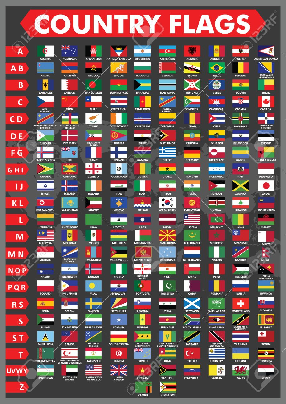 country flags in alphabetical order royalty cliparts vectors country flags in alphabetical order