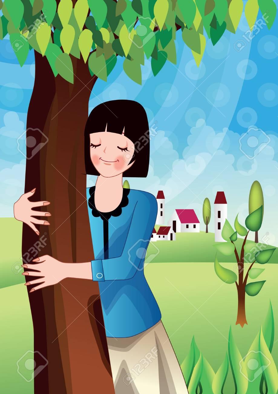Girl Hugging Tree pattern to make 25x20 design