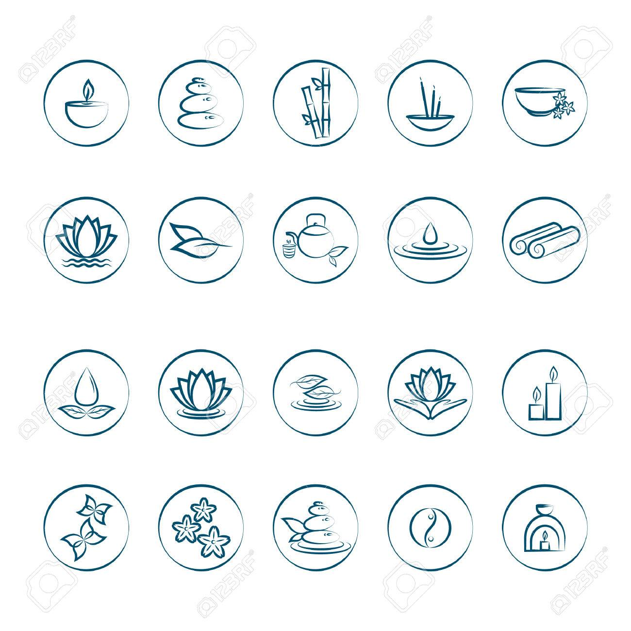 assorted zen icons set - 52544027