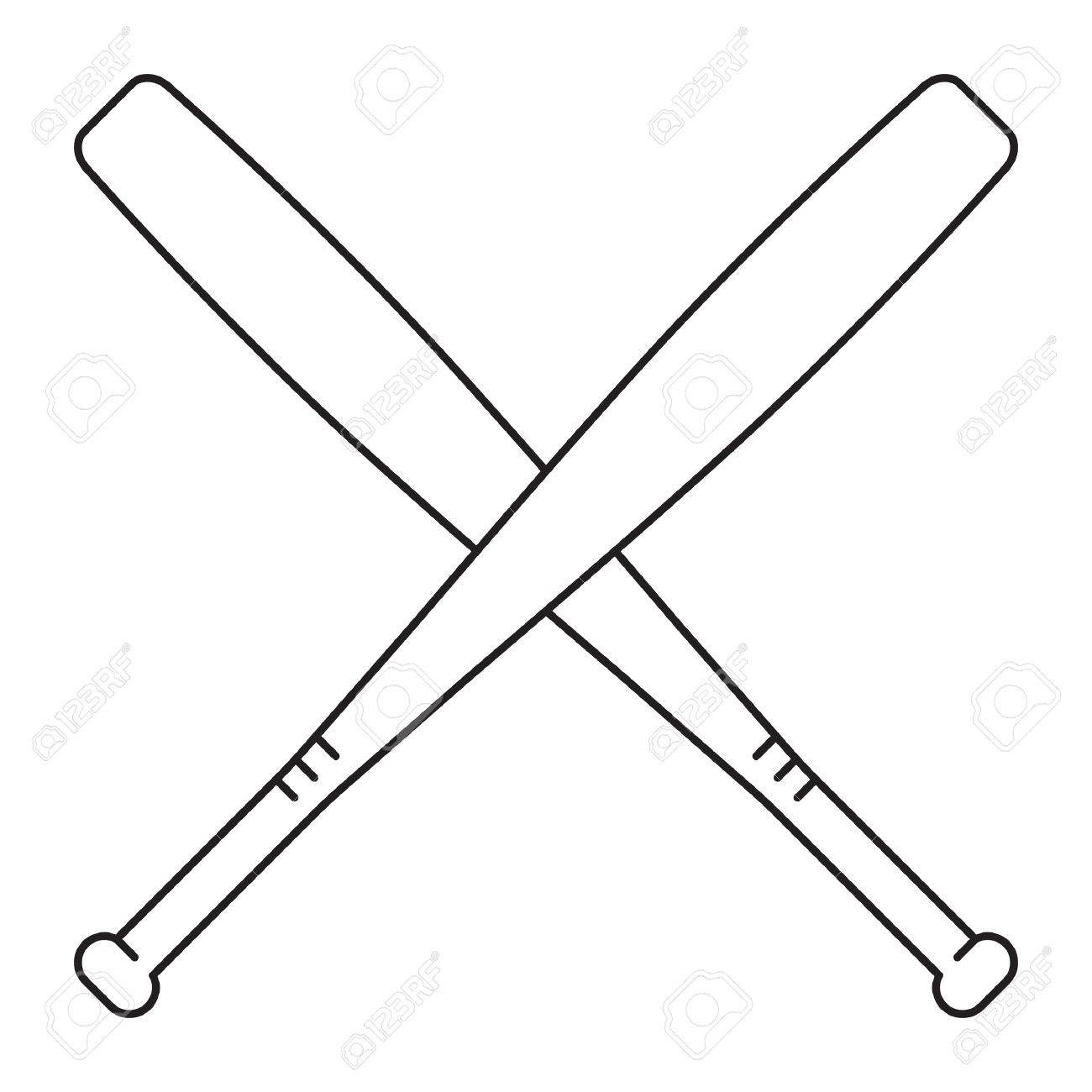 crossed baseball bat royalty free cliparts vectors and stock rh 123rf com Baseball Bat and Ball crossed baseball bats clipart black and white