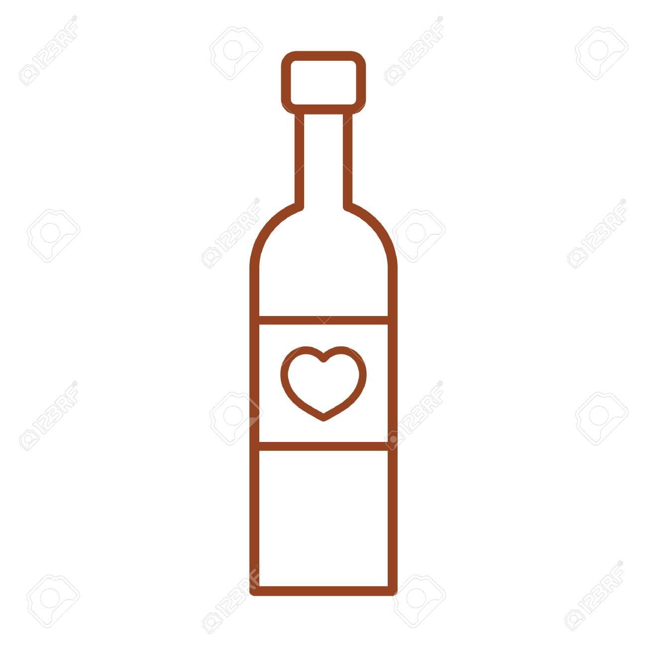 wine bottle with heart - 52573253