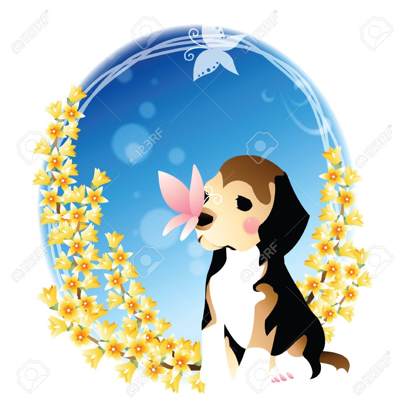 Butterfly On Dog S Nose Royalty Free Cliparts Vectors And Stock Illustration Image 52794659