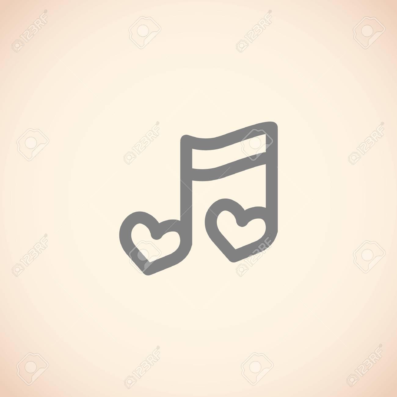 Corazón En Forma De Nota Musical Ilustraciones Vectoriales Clip Art