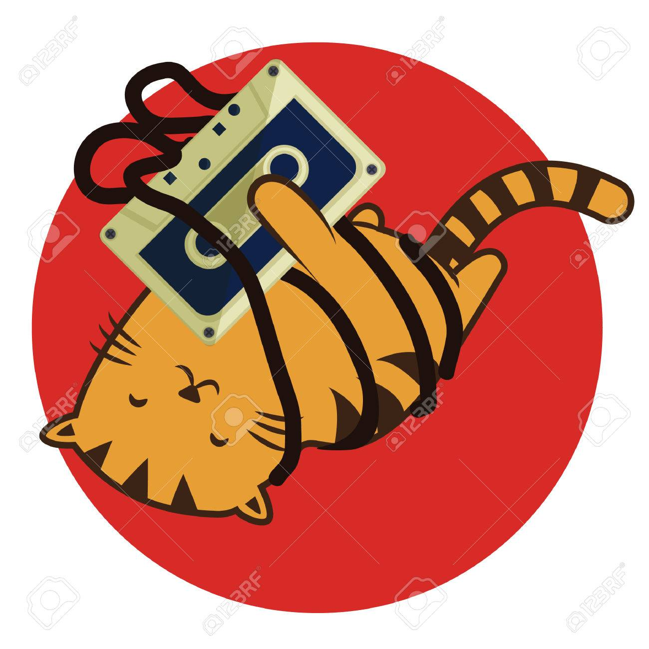 cat cartoon rolling around with cassette tape stock photo picture