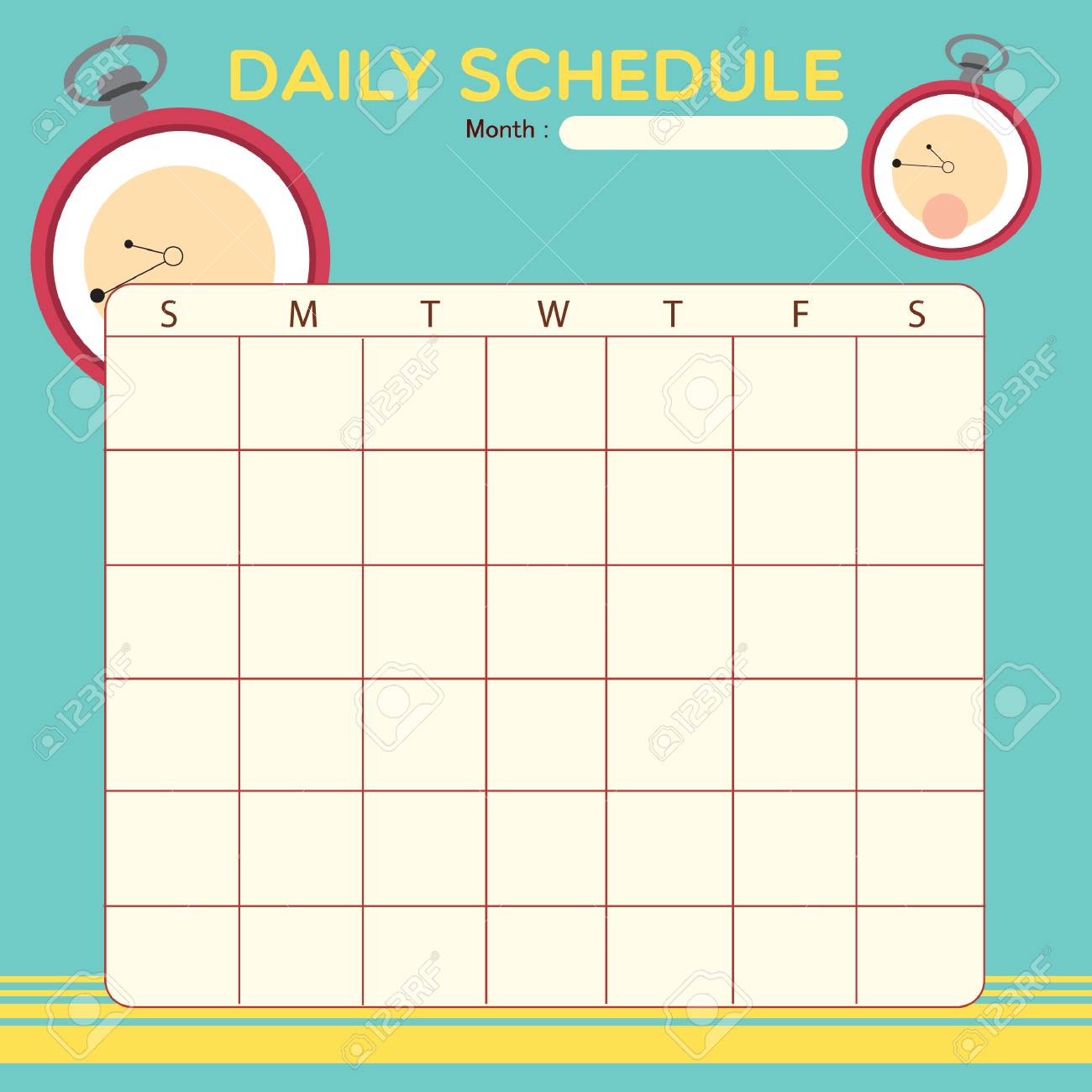 Blank Daily Planner Template Design Royalty Free Cliparts Vectors – Blank Daily Planner Template