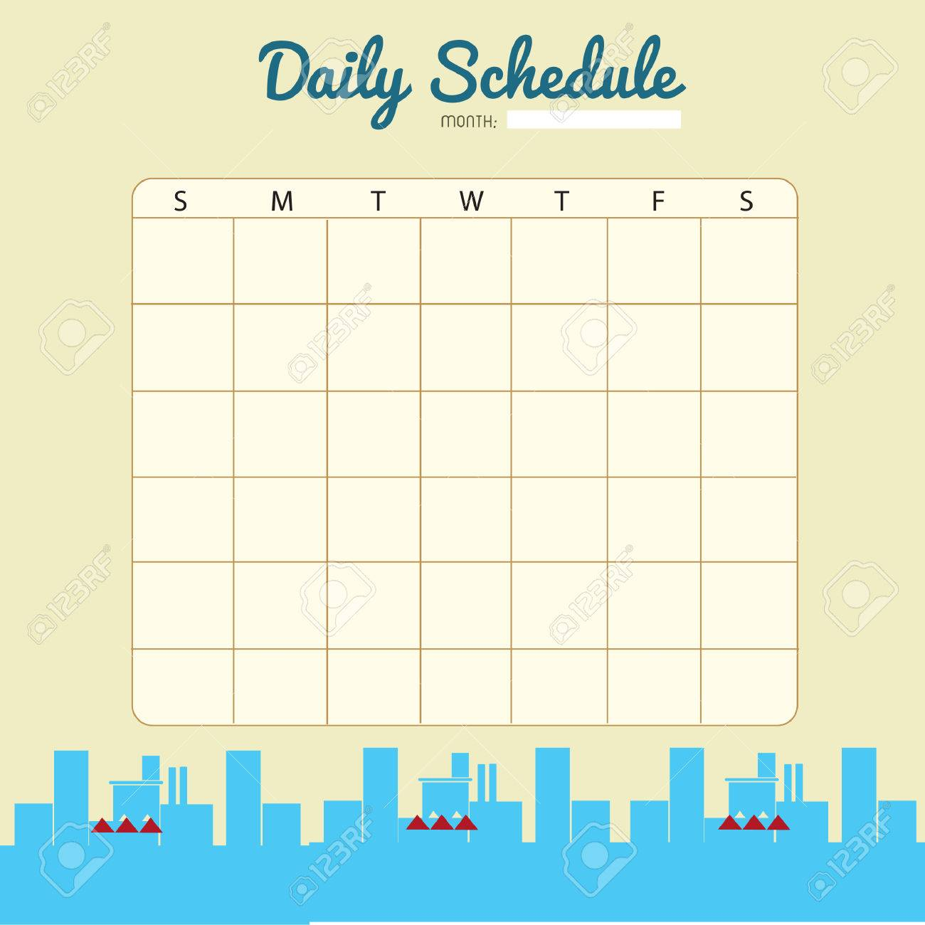 Blank Daily Planner Template Design Stock Vector   52631707