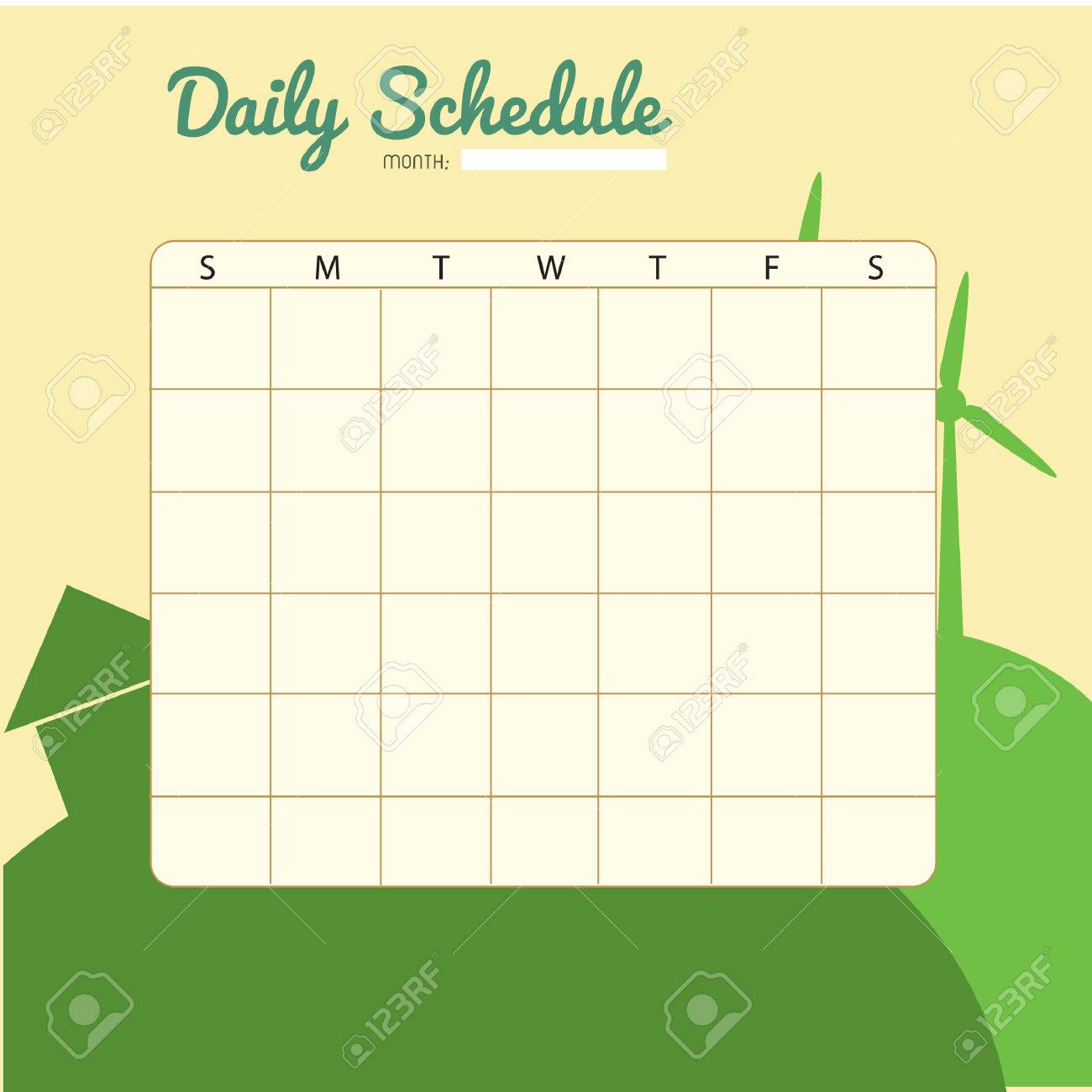 Blank Daily Planner Template Design Stock Vector   52631847