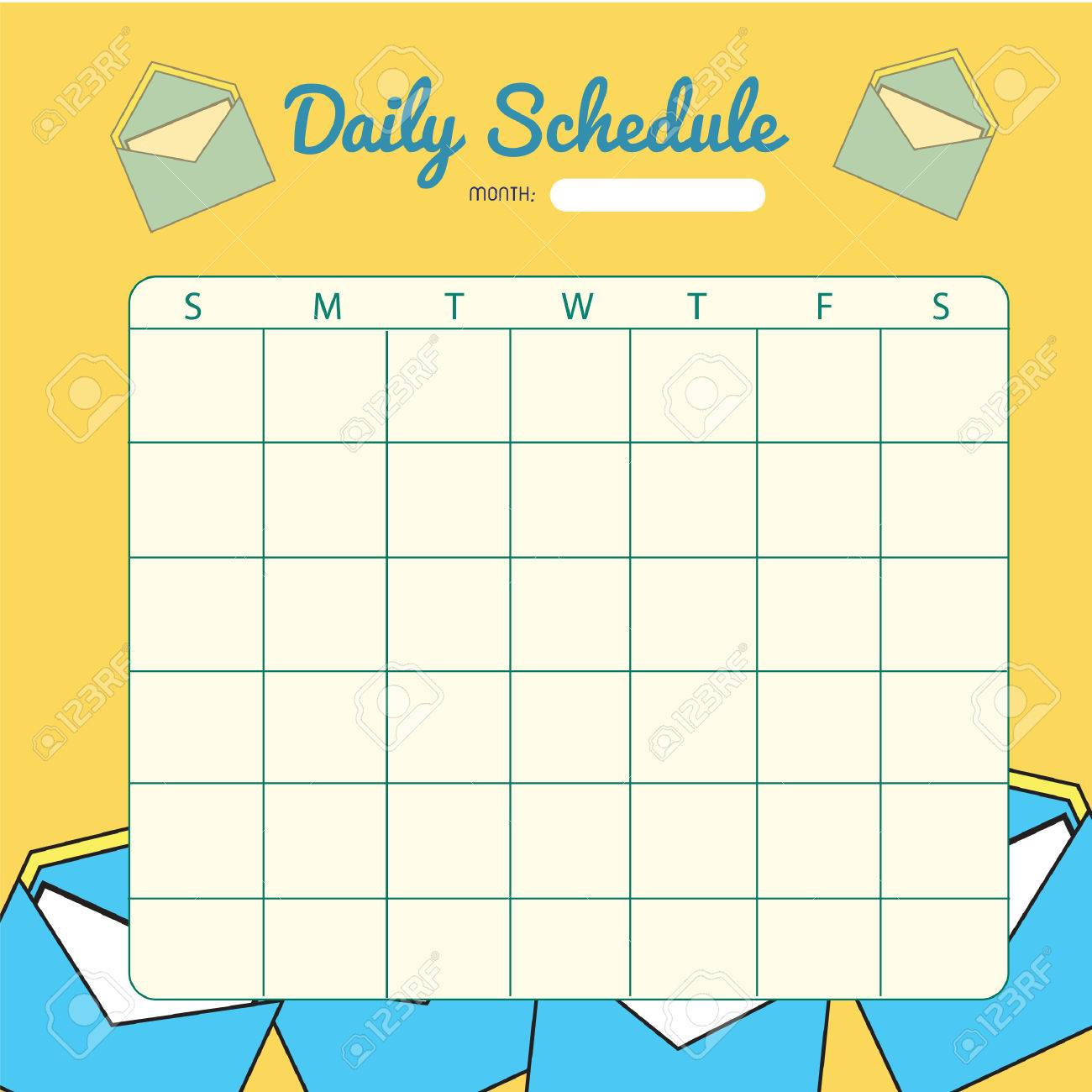 Blank Daily Planner Template Design Stock Vector   52631895  Blank Daily Planner Template