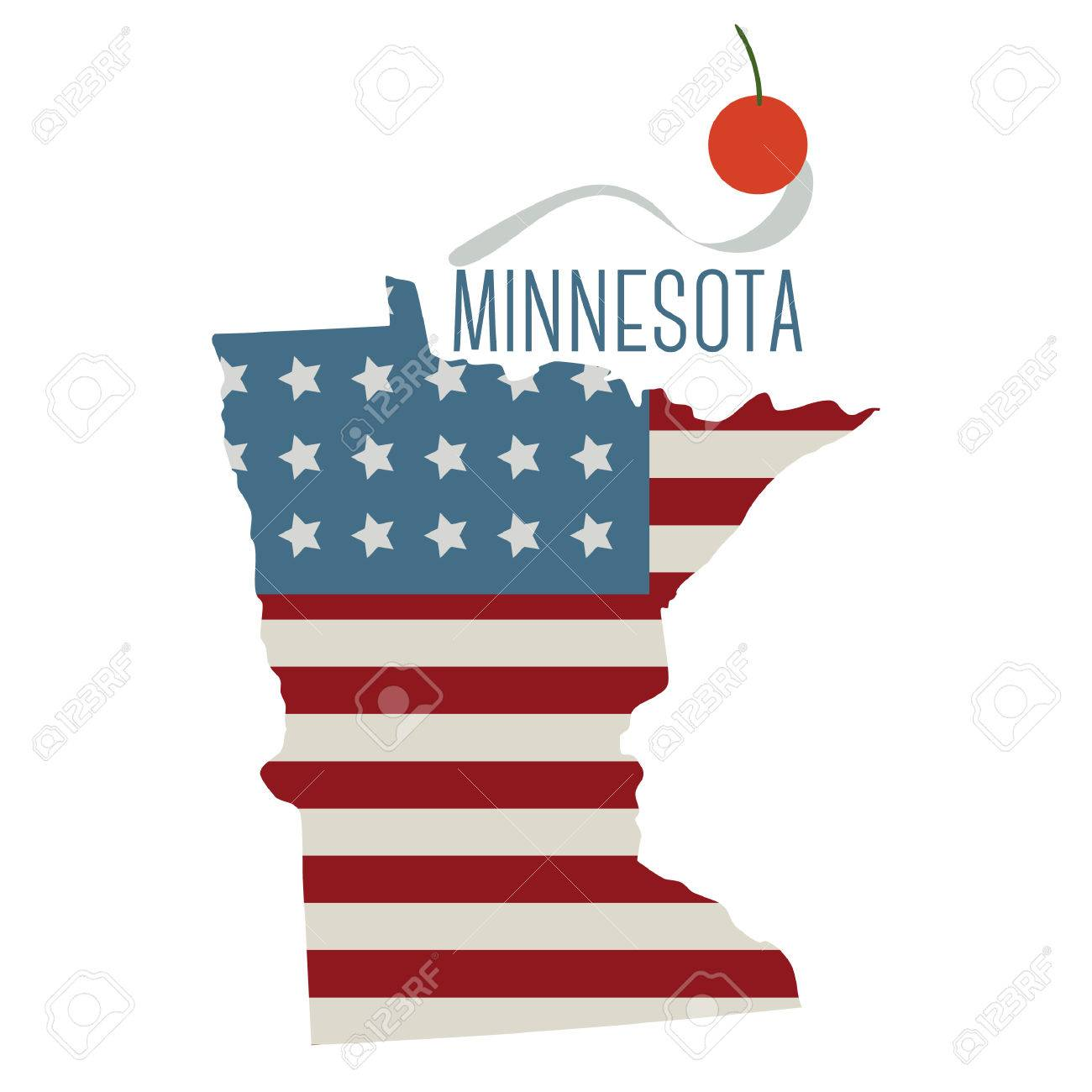 Minnesota State Map With Spoon Bridge And Cherry Royalty Free