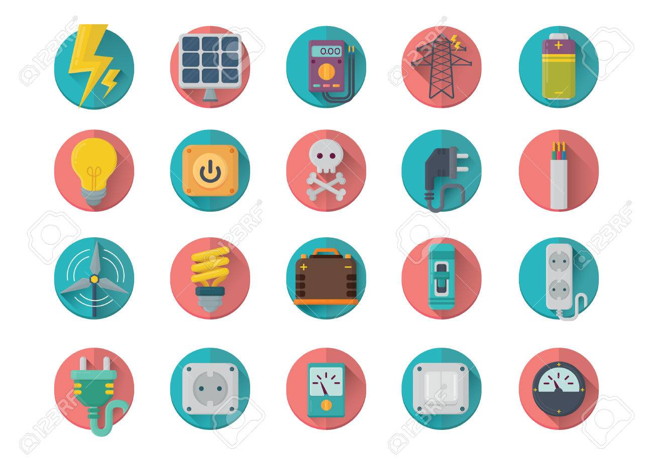 Set Of Electrical Icons Royalty Free Cliparts Vectors And Stock