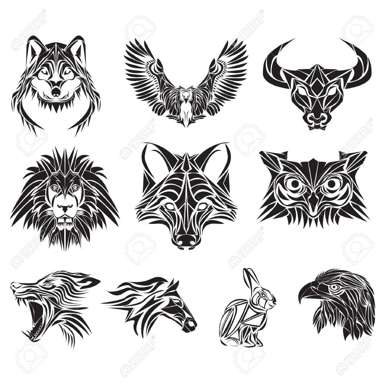 Colección De Varios Tatuajes De Animales Ilustraciones Vectoriales
