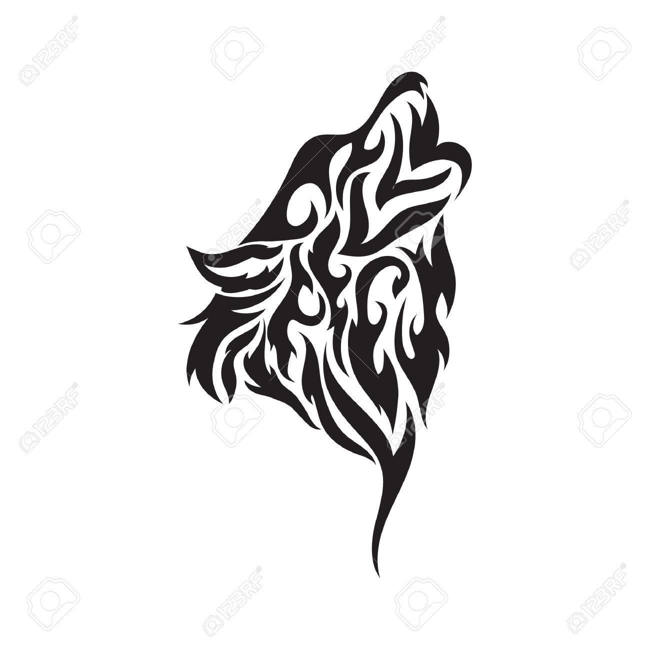 wolf tribal tattoo - 53219262