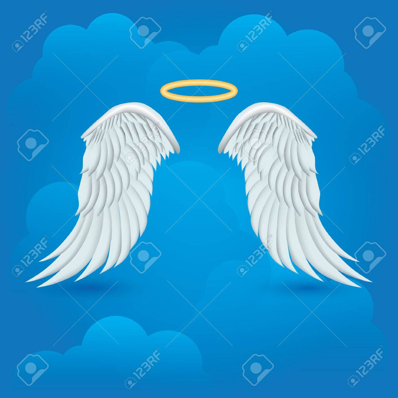 944af14f8 Angel Wings With Halo On Cloud Background Royalty Free Cliparts ...